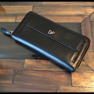 DVF Black leather zip around wallet
